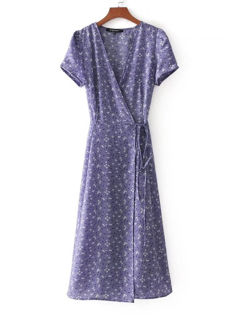 neck Floral Women Paneled Dress Short Summer V Sleeve Basic YdqnH6