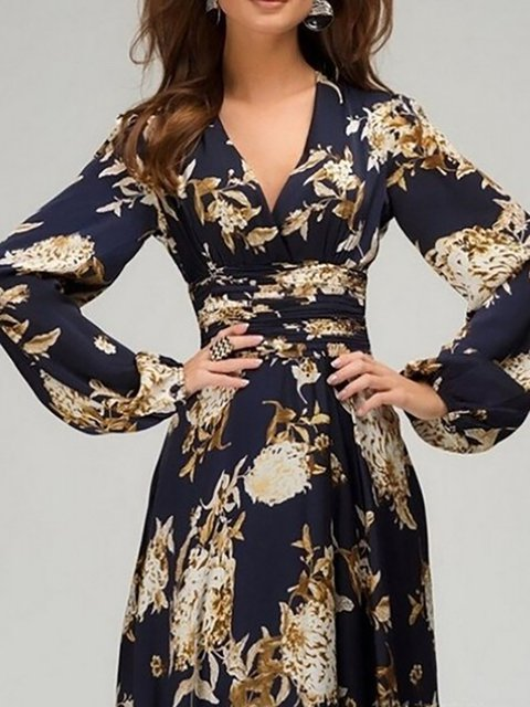 Floral Blue Floral Dress Sweet V Paneled neck Women Sleeve Daily Long Navy Swing qqwvnEaS