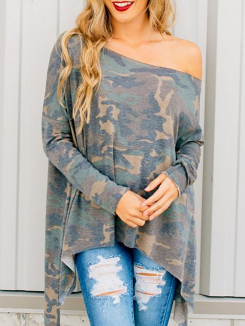 Camouflage Green Long Sleeve Off Shoulder T-Shirt