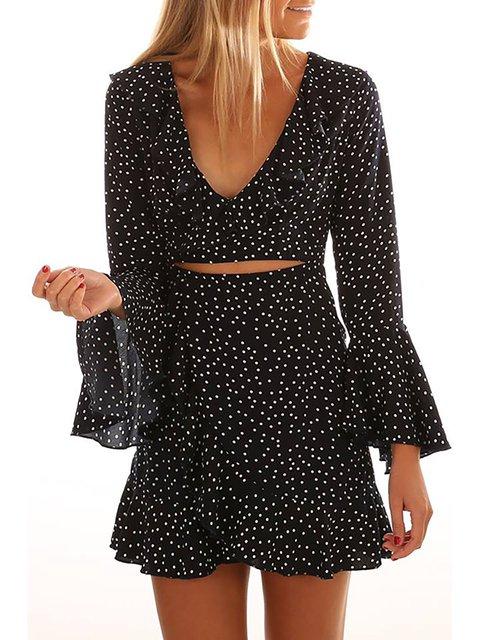 Sweet Paneled Summer Dots Polka Satin Daily Dress Women 1xnE77