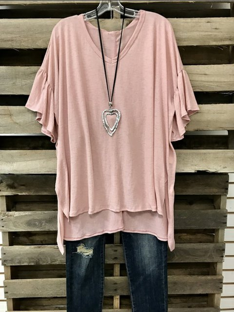 V Sleeve Frill Shirt Casual Solid T neck rzwqfr