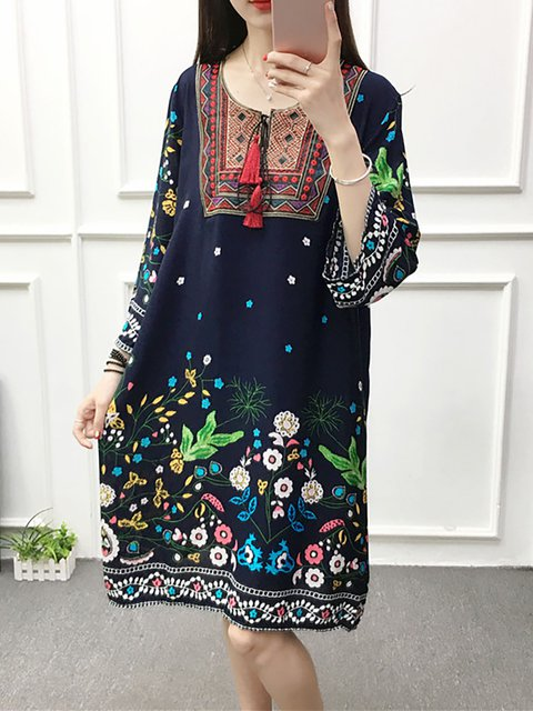 Women Daily 3/4 Sleeve Paneled Floral Casual Dress