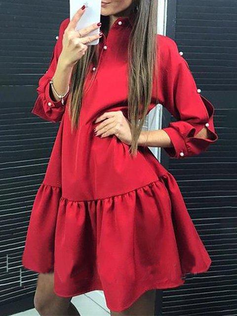 Turtleneck   Women Daily 3/4 Sleeve Solid Summer Dress