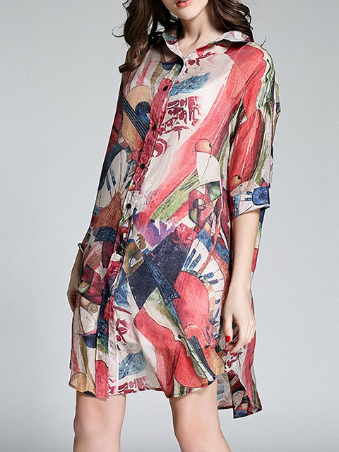Red Shift Women Daily Half Sleeve Paneled Floral Casual Dress