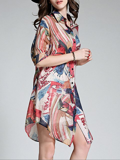 Dress Women Paneled Floral Casual Daily Half Red Shift Sleeve BqZaxSCnFw
