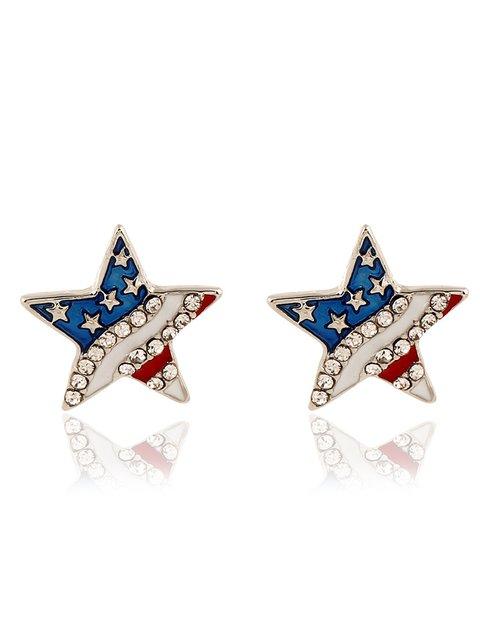 America Flag Star Rhinestone Alloy Earrings