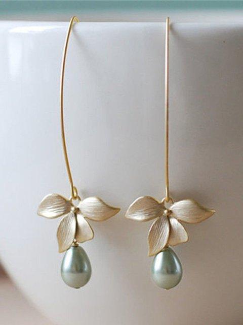 Women Stud Orchid Flower Sage Green Pearl Earring Hook Dangle Bridal