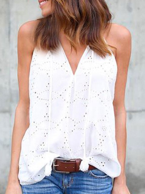Solid Sleeveless V neck Casual Tanks