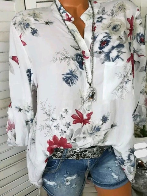 Floral Long Sleeve V neck Cotton Blouse