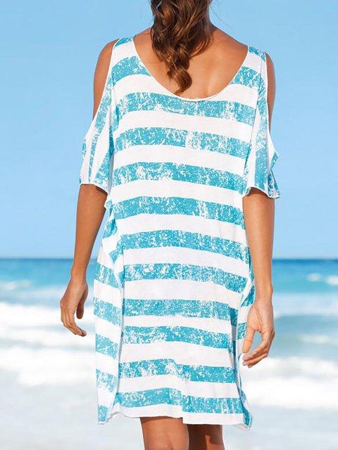 Dress Cold Light Daily Women Shoulder Summer blue Paneled Basic wwqC8