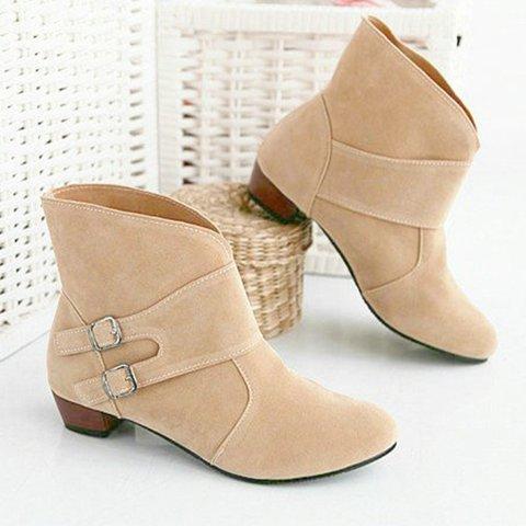 Women Flocking Booties Casual Comfort  Buckle Shoes