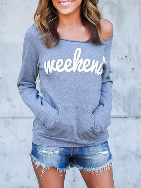 Gray Cotton Long Sleeve Solid Off Shoulder T-Shirt