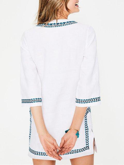 124fe995fd209 ... Dress Basic Half neck Summer Sleeve Shift White Daily Floral V Women  4Bv7WW ...