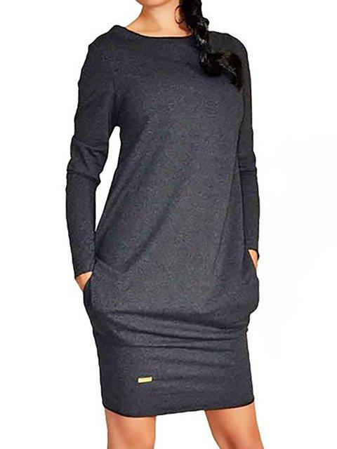 Sheath Women Daily Long Sleeve Basic Cotton Paneled Solid Spring Dress