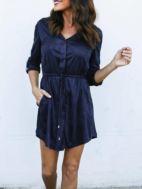 Shawl Collar  Shift Women Daily Long Sleeve Basic Paneled Solid Summer Dress