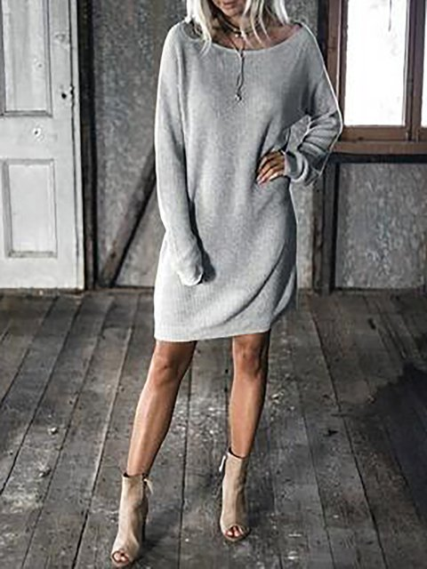 Shift Women Daily Basic Batwing Cotton Paneled Solid Fall Dress