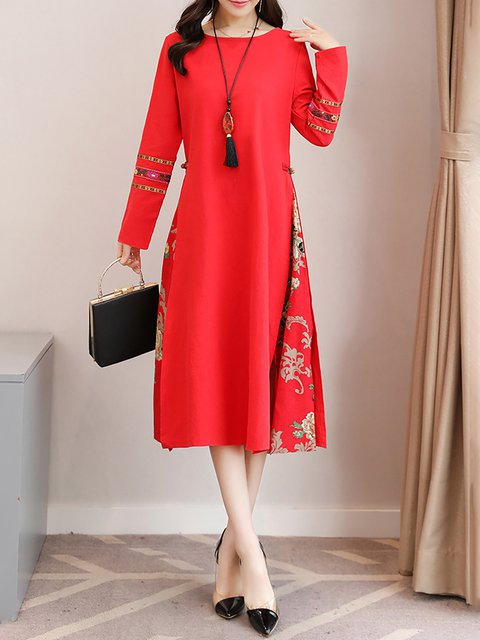 Swing Women Daily Linen Basic Paneled Floral Elegant Dress