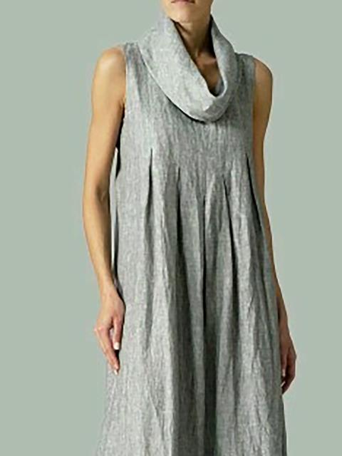 Shift Basic Paneled Gray Turtleneck Summer Sleeveless Daytime Women Solid Dress 5CpqXwq