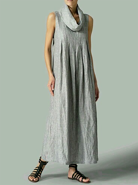 Turtleneck Gray Shift Women Daytime Sleeveless Basic Paneled Solid Summer Dress