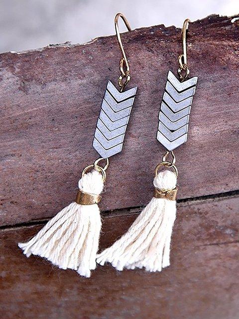 Femmes Ethniques Gland Naturel Pierre Vintage Or Crochet  Earrings