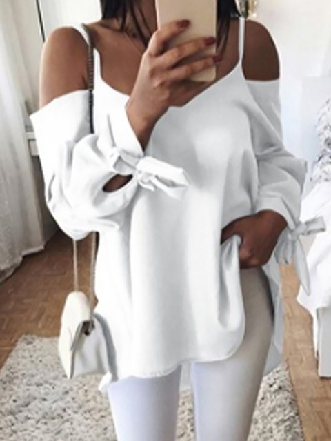 Solid Cold Shoulder Long Sleeve Blouse