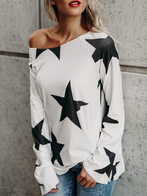 White Long Sleeve Printed Crew Neck T-Shirt