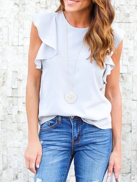 Crew Neck Solid Frill Sleeve Tanks