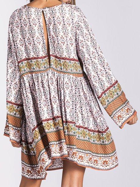 Sleeve Daily Boho Dress V Women Long Summer Paneled neck Et6qwqxX
