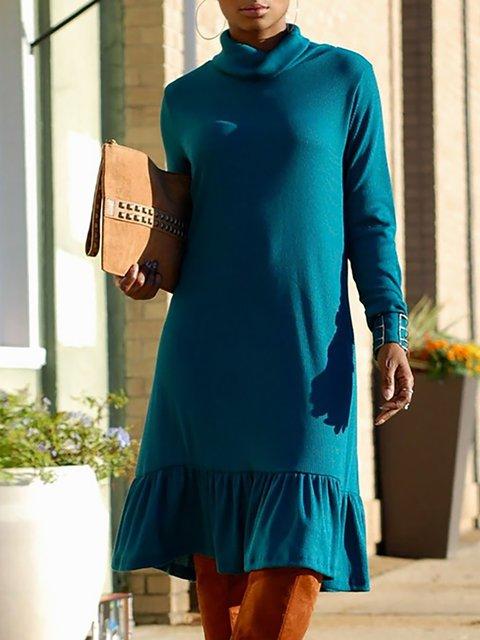 Turtleneck  Women Daily Long Sleeve Basic Paneled Solid Spring Dress
