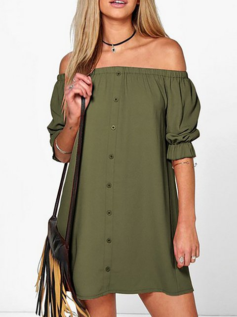 Off Shoulder  A-line Women Daily Basic Short Sleeve Paneled Solid Summer Dress