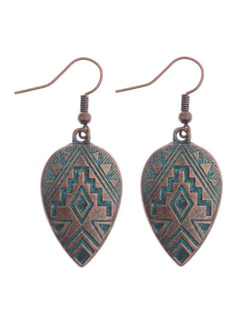 Womens Vintage Alloy Heart Earrings