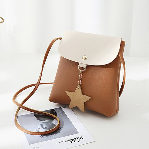 Star Decorational Flap Faux Leather Shoulder Bags Crossbody Bag Phone Bag For Women