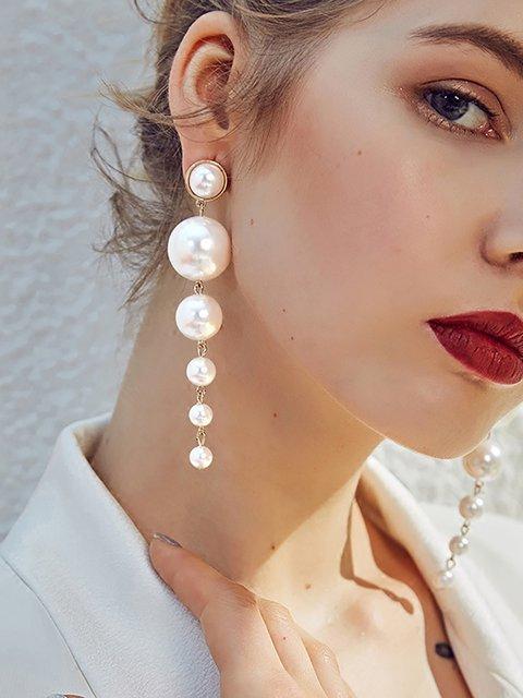 Womens Pendant Pearl Alloy Long Earrings