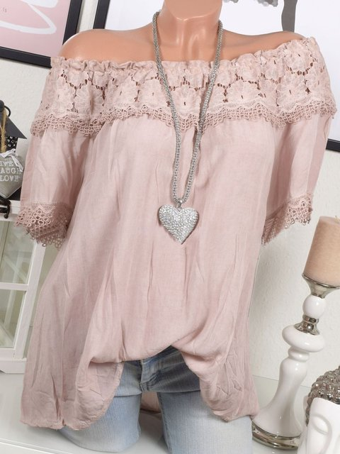 Casual Solid Short Sleeve Off Shoulder Blouse