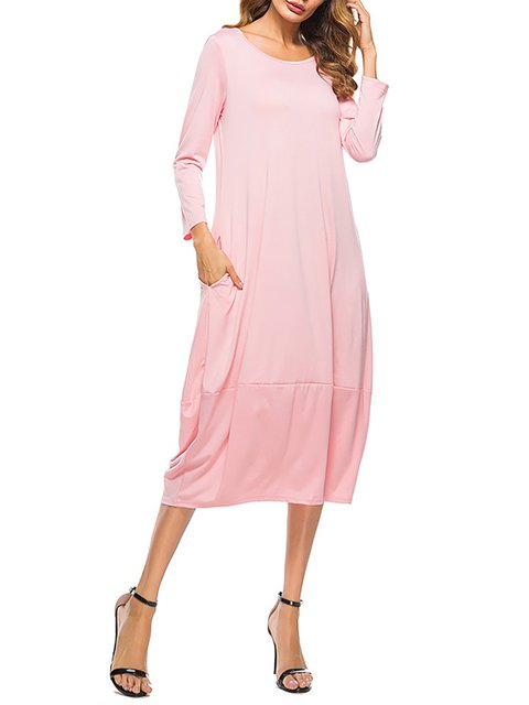 Long Dress Women Cocoon Fall Sleeve Solid Basic Paneled E1wCq