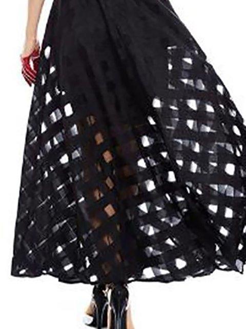 Black Dress Paneled Women Basic Solid Mesh Swing Prom Sleeveless Daily rn6AwxrPzq