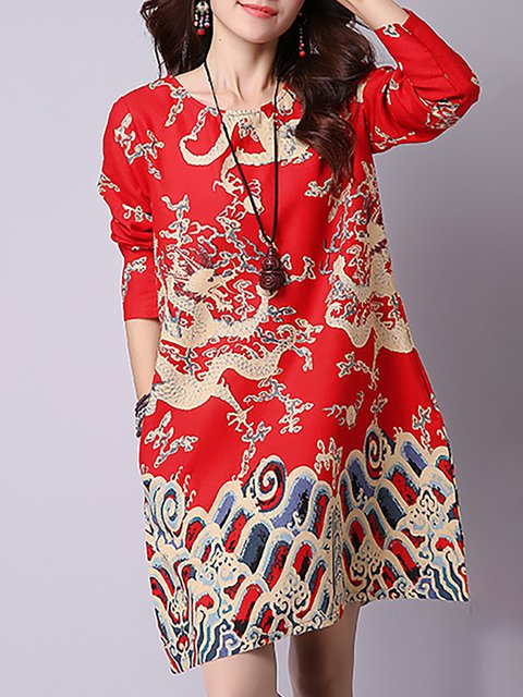 Women Daytime Long Sleeve Pockets Tribal Casual Dress