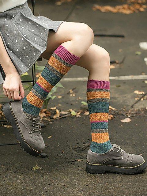 Women Breathable Patchwork Cotton Piles Socks Harajuku Hosiery Style Elastic Stockings