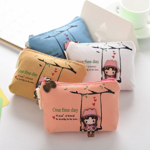 Womens Canvas Cute Zipper Pocket Money Bags
