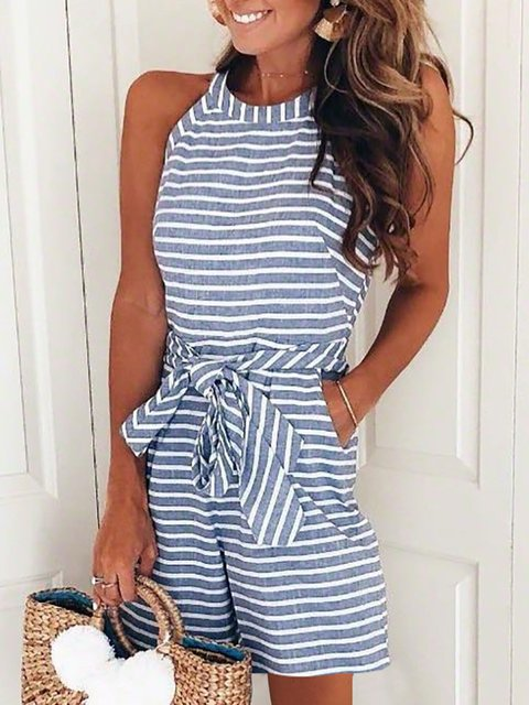 Halter Resort Striped Sleeveless Summer Romper