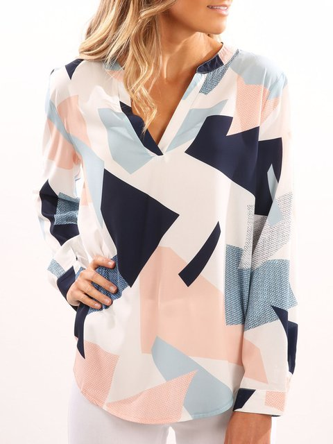 V neck Geometric Long Sleeve Casual Blouse