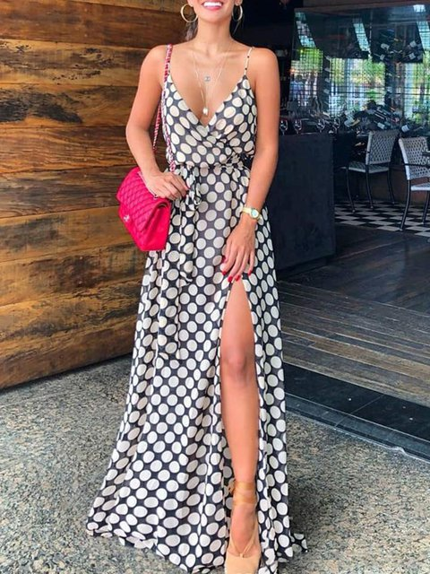 V neck Black-white Swing Women Spaghetti Casual Polka Dots Summer Dress d52181a42