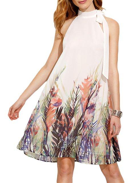 Turtleneck White Women Sleeveless Basic Paneled Floral Floral Dress
