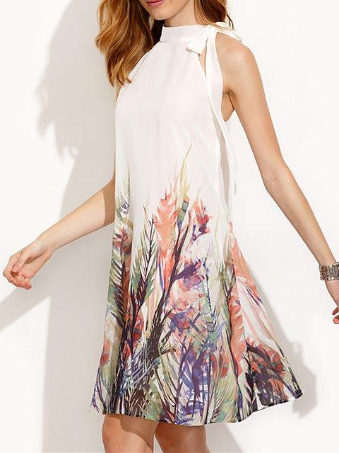 Floral Paneled Sleeveless Floral Basic Women Turtleneck White Dress 4nvIqXvRw