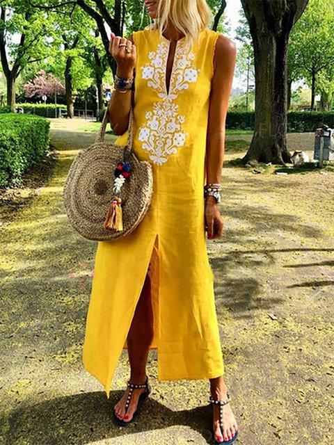 4475cb0705fd Kaftan Shift Women Daytime Sleeveless Casual Slit Geometric Summer Dress