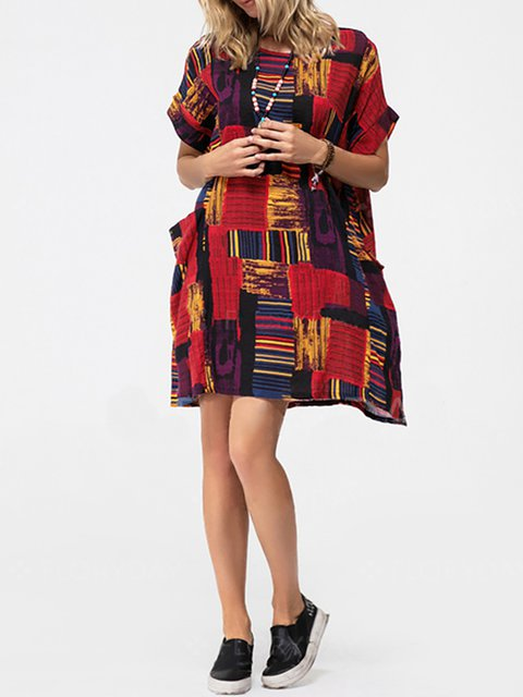Floral Dress Short Cotton Sleeve Summer Daily Women 7xqFvwUF