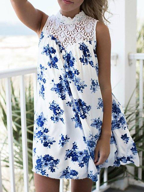 Boho Blue Women Floral Summer Ruffled Sleeveless Paneled Dress Z4pzq