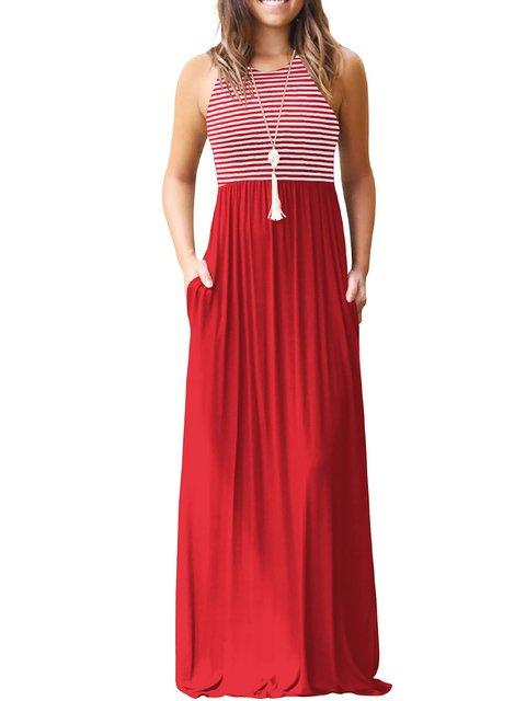 Basic Sleeveless Striped Daily Dress Summer Women Paneled EUqBOfw