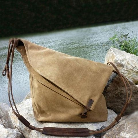 Irregular Vintage Messenger Bag Canvas Rucksack Crossbody Bag