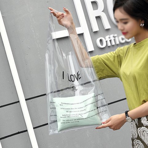 Womens Transparent PVC Casual Open-top Letter Shopping Tote Bags
